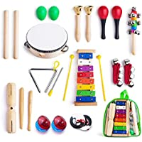 Juego de instrumentos musicales de Yooson 12en 1, xilófono, set de percusión para banda, tambor, maracas, campanas y huevos maracas, con funda de transporte para niños