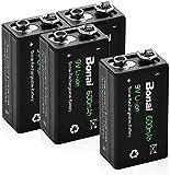 BONAI Akku 9V Block 600mAh Li-ion Batterien 6F22,Lithium-ion wiederaufladbare 9 Volt Akkubatterien mit geringer Selbstentladung & Lange Lebensdauer (4 Stück)