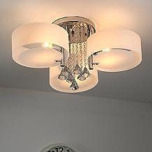 NatsenR LED Kristall Deckenleuchte Deckenlampe Designer Wohnzimmer Lampe 3 Flammig E27 60cm