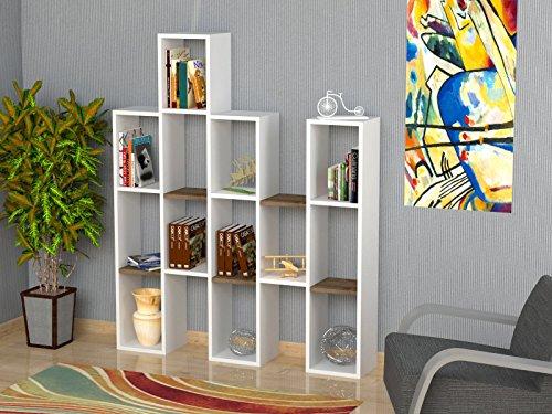 Jona libreria bianco noce scaffale per libri scaffale per