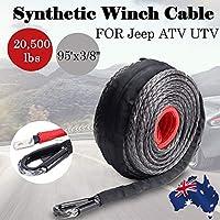 9.5mm * 28m Synthetic Winch Line Cable Cuerda 20500LBs Hook + Hawse Fairlead (Color: Negro y Gris y Rojo)