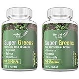 HerbalValley Super Greens | 4 Natural Herbal Ingredients | 60 Capsules (Pack Of 2)