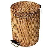 Tessitura di bambù e Rattan con Coperchio Pedale Pattumiera, Stile Cinese Rettangolo Creativo Bidoni Soggiorno Bagno Cucina Cestino Contenitore-3L-Giallo