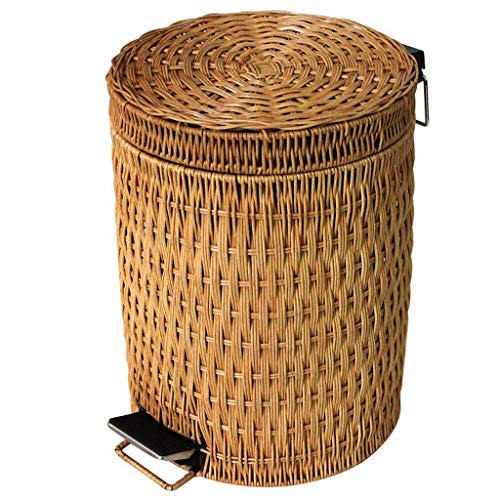 Bambus- und Rattanweberei mit Deckel Fußpedal Mülleimer, Chinesisch Rechteck Creative Abfalleimer Wohnzimmer Schlafzimmer Küche Abfallbehälter-3L-Gelb