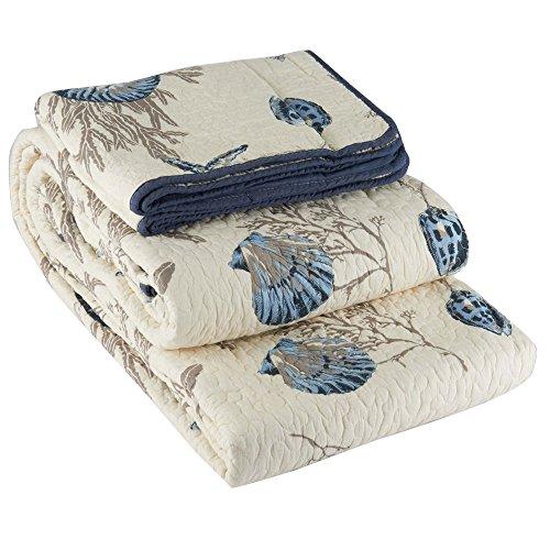 Babycare Pro Conch und Seestern 3-teilig Patchwork Tagesdecke/Quilt Sets, 100% Baumwolle King Size Bett In Einer Tasche für Erwachsene (King-size-bett-tasche)
