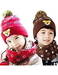 KKCF Sombrero De Invierno para Niños Guantes De Bufanda Conjunto De Punto 1-12 Años para Niñas Y Niños,Brown,S