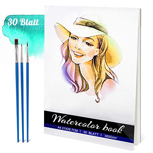 Aquarellpapier,30 Blätter Aquarell-Pad 300 g/m² Papier A4 Aquarellblock,Acid Free Cold Pressed Paper for Watercolour and Mixed Media Painting,Natural White