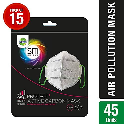 Dettol Siti Shield Carbon Activated Air-Pollution Mask, 3 Units (Pack of 15)
