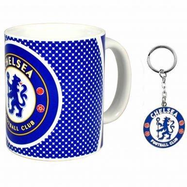 FC Chelsea-Geschenkset bestehend aus Keramiktasse und Schlüsselanhänger mit Vereinswappen -