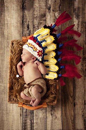 Jastore ® Foto Fotografie Prop Baby Kostüm Nette Indianer häkel Stricken Handarbeit (Baby Indianer Kostüm)