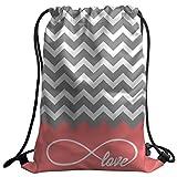 Violetpos Mode costumbre Unisex Turn Bolsa Mochila Bolsa de deporte Gym Bag clásico gris Chevron Infinito Símbolo Amor