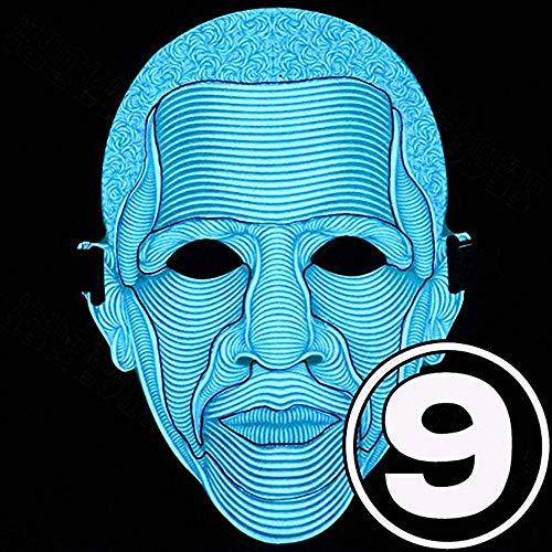Maschera Party Halloween LED Attivato a Voce, Glow Mask, Maschera Glitter Luminosa, Attrezzatura Dj Maschera Rave per Danza, Equitazione, Pattinaggio su Ghiaccio,obamask