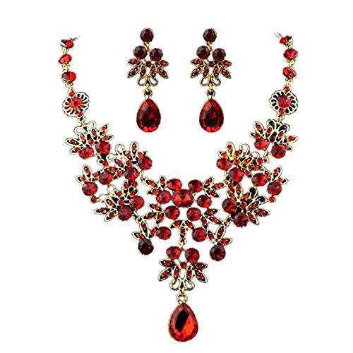 Liquidazione offerte, fittingran svendita offerte collana + orecchini gioielli set donna stile misto bohemia colore bib collana a catena orecchini gioielli (rosso)