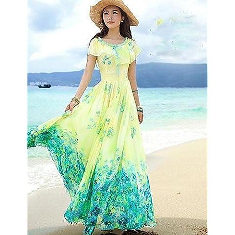 PU&PU Vestito Da donna Da spiaggia Con stampe Maxi Colletto increspato Chiffon , yellow-2xl , yellow-2xl