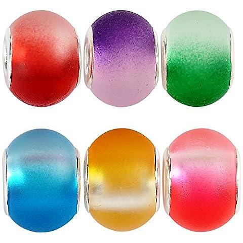 Rubyca Bulk abstrait en verre de Murano Perle pour européenne Bracelet à breloques pour DIY Bijoux, Verre, Frosted Gradient Glass, 50PCS