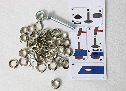 641383 10 Ösen mit Scheiben 14 mm Silberfarben inkl. Werkzeug (Einfache Schritt-kunstleder)