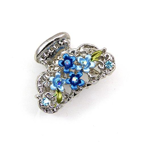 rougecaramel - Accessoires cheveux - Pince crabe cheveux fleur métal et strass 3.5cm - bleu