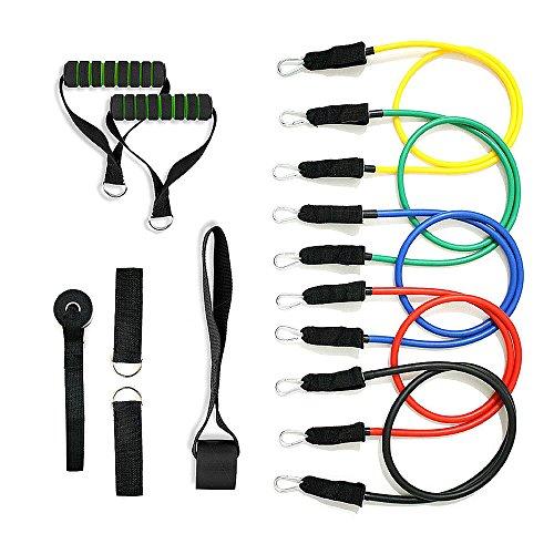 Mture Widerstandsbänder Fitnessbänder Yogagurte Strap Belt Body-Tube 100 % Naturlatex beschichtete Röhren Ideal für Heimfitness, Yoga, Pilates -11-teiliges Set