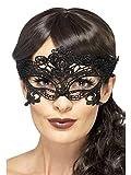 Smiffys Déguisement Femme, Masque de bal masqué en forme de cœur, filigrane en dentelle brodée, Couleur: Noir, 45628