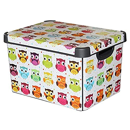 Curver 22 Litre Large Plastic Stockholm Deco Owls Storage Box, Multi Colour