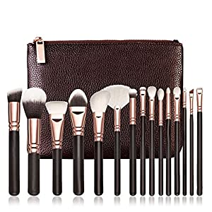 Generic A: Women' s Fashion 15 PCS Pro Wooded Handle Makeup Brushes Set Cosmetic Complete Synthetic Fiber Hair Eye Soft…
