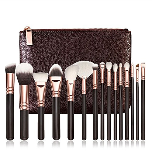 Generic A: Women' s Fashion 15 PCS Pro Wooded Handle Makeup Brushes Set Cosmetic Complete Synthetic Fiber Hair Eye Soft Beauty Kit + Case