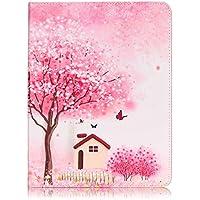 Casefashion per Apple iPad 2 3 4 Custodia, ipad Case PU Pelle Wallet Card Slots Flip Stand - Peach Blossom Tree