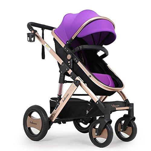 DACHUI Baby Kinderwagen, Kinderwagen, kann sitzen zwei-Wege-Trolley, Tierheim stroller (Farbe: Violett)