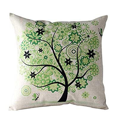 Koly Pastoral Style Tree of Life Cotton Linen Decorative Throw Pillow Cover Cushion Case - low-cost UK light store.