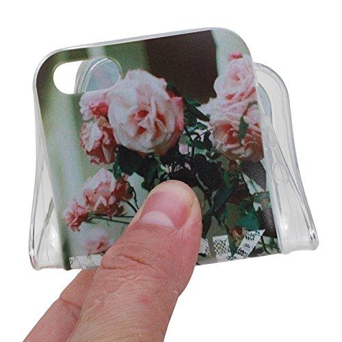 Etsue TPU Schutzhülle für iPhone SE/iPhone 5S Silikon Handyhülle, Wunderschön Besondere Entwurf Muster TPU Silikon Handytasche Weiche Kristall Klar Rahmen Ultradünnen Rückseite Tasche Etui Schale Bump Pink Rose Blumen