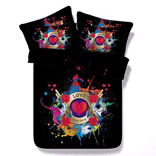 Schwarz Inkjet Ersatz (sjtzzj Bettwäsche Set Deckenbezug Kissenbezug Warmer Weicher Besten Schlaf Viele Farben&Größen Modischen Mikrofaser Kinder Erwachsener Schwarzer Inkjet 3D)