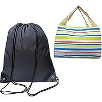Combinación perfecta para actividades al aire libre: Saco de gimnasio / bolsa de cordón + caja de almuerzo / caja de bento / bolsa de almuerzo / bolsa más fresca para comidas escolares, de trabajo y familiares en el parque.