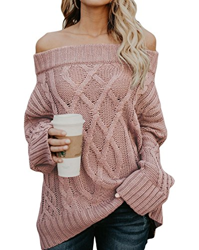 GOSOPIN Womens Knit Sweater Long Sleeve Off Shoulder Pullover Solid Color Casual Winter Sweatshirt