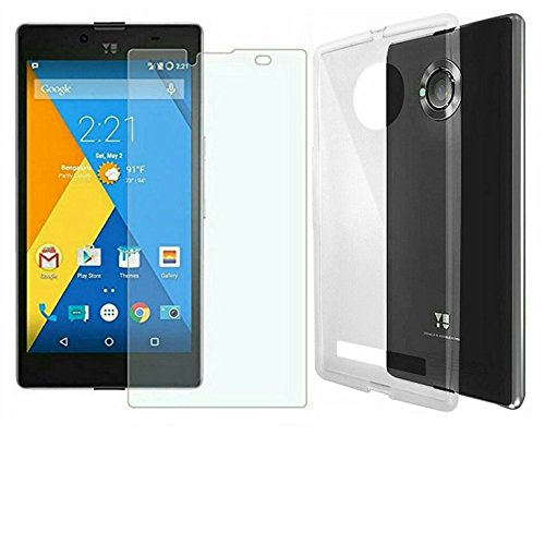 AVICA COMBO OFFER Premium Transparent Crystal Clear Back Cover TPU +2.5D Tempered Glass Screen Protector For Micromax Yu Yuphoria 5010