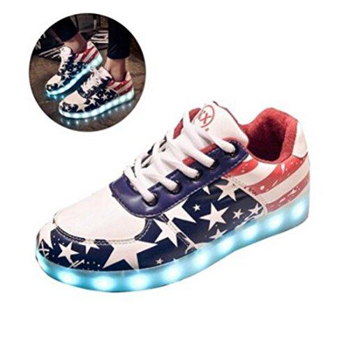 [Présents:petite serviette]JUNGLEST® Gogoo Club 7 Couleur Mode Unisexe Homme Femme USB Charge Lumière Lumineux Chaussures de marche LED Ch Rouge