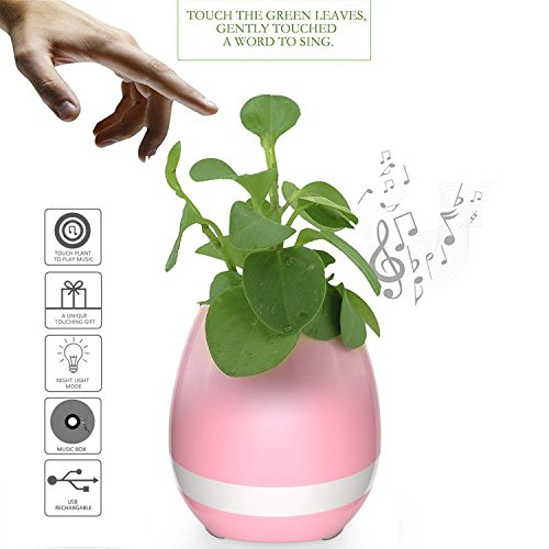 Miavogo Música Flower-Pot LED Colorido Luz Nocturna Smart Touch Music Flower-Pot Piano Smart Altavoz Bluetooth Inalámbrico Luz Nocturna Planta-pot Sensor Táctil (Sin planta) (Rosa)