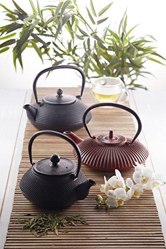Kitchen Craft Le'Xpress Gusseisen-Teekanne im Japanischen Stil, Teeei-Stil, 600ml (3Tassen), gusseisen, schwarz, 8.7 x 8.5 x 9.8 cm