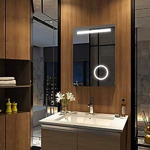 Meykoers Wandspiegel Badezimmerspiegel 50x70cm mit Vergrößerung, Touch und Beschlagfrei, LED Badspiegel mit Beleuchtung Kaltweiß 6400K Energieklasse A++