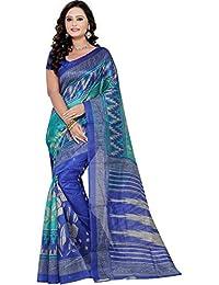 SilkBazar Multi Bhagalpuri Silk Printed Saree With Blouse(FL-PT-BHAGAL19)