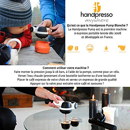 Handpresso 48257 Wild Hybrid Tragbare Espresso-Maschine, Aluminium, 22 x 9,5 x 7cm, Weiß
