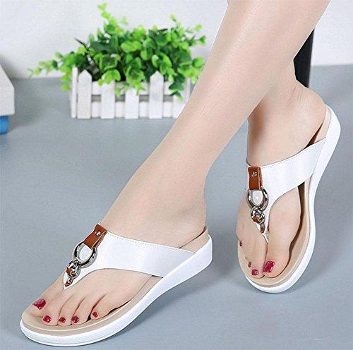 pantoufles à fond épais femmes thong sandales chaussures sauvages White