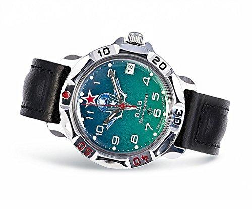 Vostok Komandirskie, orologio da polso meccanico, impermeabile, con calendario, in stile militare russo, in pelle e metallo, di colore blu, con stemma della VDV, 211307