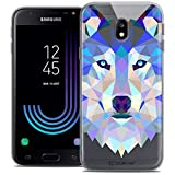 Caseink Coque pour Samsung Galaxy J3 2017 J320 (5) Housse Etui [Crystal Gel HD Polygon Series Animal - Souple - Ultra Fin - Imprimé en France] Loup