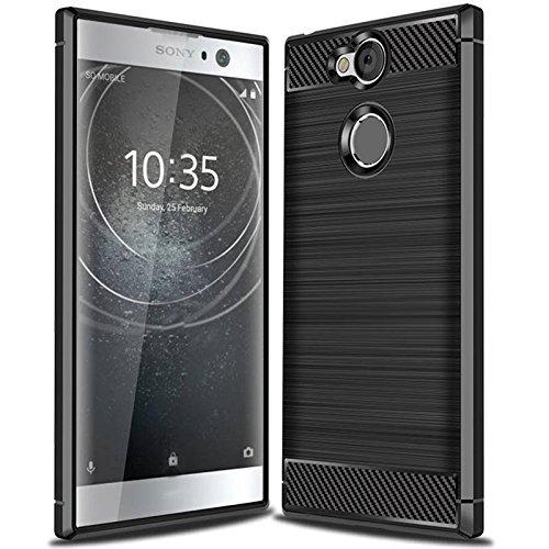 Acelive Sony Xperia XA2 Hülle, Karbonfaser Elastisch Schützendes TPU Silikon Handyhülle Schutz vor Stürzen und Stößen Huelle Case für Sony Xperia XA2 (schwarz)