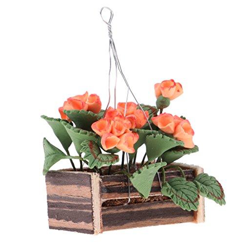 MagiDeal 1/12 Puppenhaus Miniatur Pflanzen Hängende Blumen im Korb Garten Dekoration - Orange & Grün - # B -