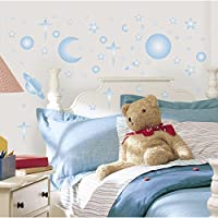 RoomMates - 54231, Adesivi decorativi da parete che si illuminano al buio, motivo: Corpi celesti