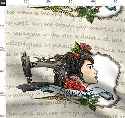 Tätowierung, Nähmaschine, Kreativität, Erstellen, Schneiderin, Inspirierend Stoffe - Individuell Bedruckt von Spoonflower - Design von Aspenartsstudio Gedruckt auf Sport Lycra - Für Nähmaschine Lycra