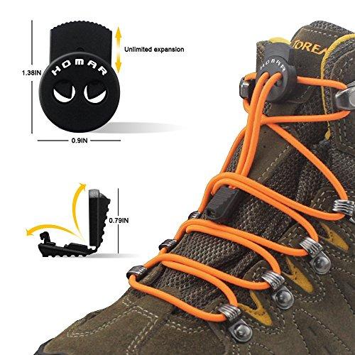 No Tie Schnürsenkel für Kinder und Erwachsene - Solid Colors Kleid Shoestrings Runde Schnürsenkel mit Schlössern Orange