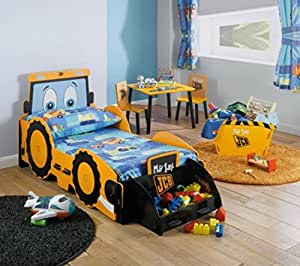 kidsaw kinder mit aufgedrucktem jcb bagger motiv f r jungen mit bett. Black Bedroom Furniture Sets. Home Design Ideas