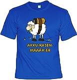 Außergewöhnliches Unisex T-Shirt in royalblau mit tollem Motiv designd by Gali: Akku-Rasen-Määäh-er